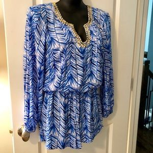 Lily Pulitzer Colby blue Romper small NWT